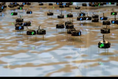 "An image showing a ""swarm"" of robots"